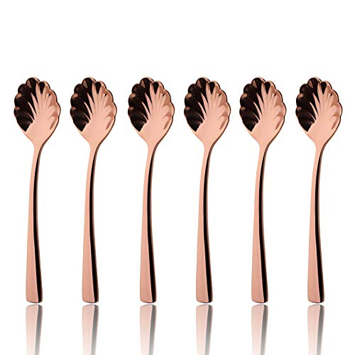 (Sugar Spoon Set Rose Gold 6 Piece 18/8 Stainless Steel 5.6 inch Shell Tea Coffee Spoons Service for 6 Silverware Flatware Utensils Dinner Dishwasher Safe Mirror Polished by OMGard)