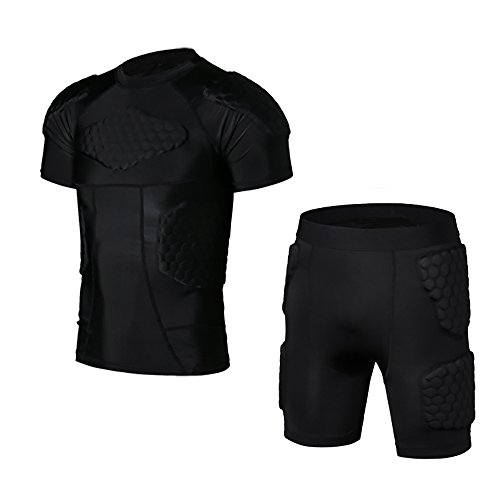 OCATO Full Body Protective T-shirt Gear Armor Resistance Padded Shorts Uniform Set Short Sleeve for Football Soccer Basketball Rockey Protective Gear Clothing - Motorcycles Gear Protective