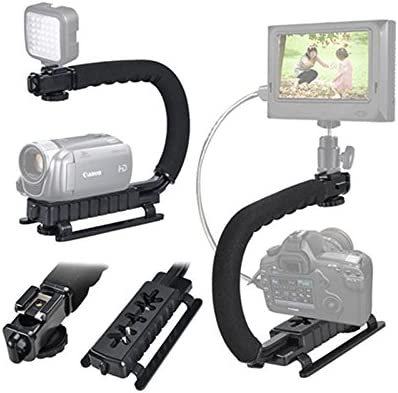 Vaorwne DV Hand Held C-Shaped Shooting Video Stabilizer Hand-held Low Frame Flash Stands Stabilizer