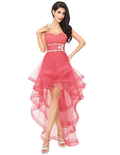 Low Cocktail Belle with Dresses Prom Coral 2018 Gown Women House Beads Ball High for Party tqqrgwEH