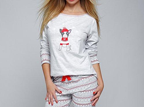 casa chic Abbigliamento Con Rosso una da un Grigio Sensis da pantalone comodo maglietta made in di composto cotone Pigiama Cagnolino EU classe ed in wBBq7W01Xx