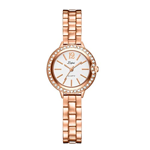LUCAMORE Women Fashion Luxury Crystal Wrist Watch Stylish Analog Quartz Watch with Stainless Steel Band on Sale