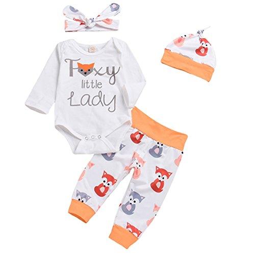 4Pcs Cute Baby Girls Clothes Little Lady Long Sleeve Romper+Fox Print Long Pants+Hat Kids Outfit Set (Multi, 70/0-6M)