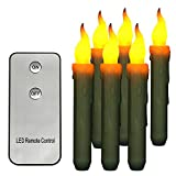 Flameless LED Window Taper Candles 6 Pcs Set with Remote Control, Battery Operated Dripping Style Realistic Yellow Flickering Electric Fake Candles Battery Powered, Pack of 6 (with remote control)