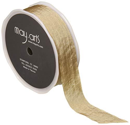 Faux Silk Ribbon - May Arts 1'' Faux Silk Wrinkled Ribbon (Roll 50 Yard) Taupe