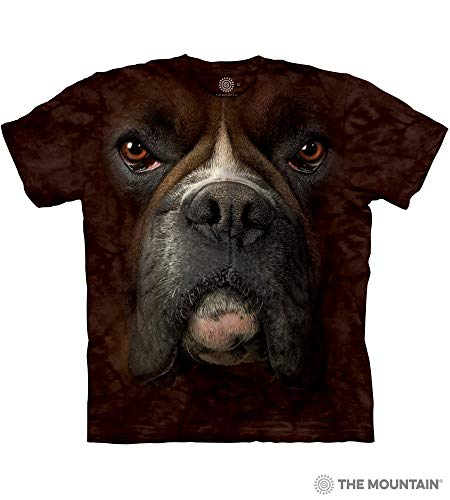Classic Breed T-shirt Boxer - The Mountain Boxer Face Adult T-Shirt, Brown, Large