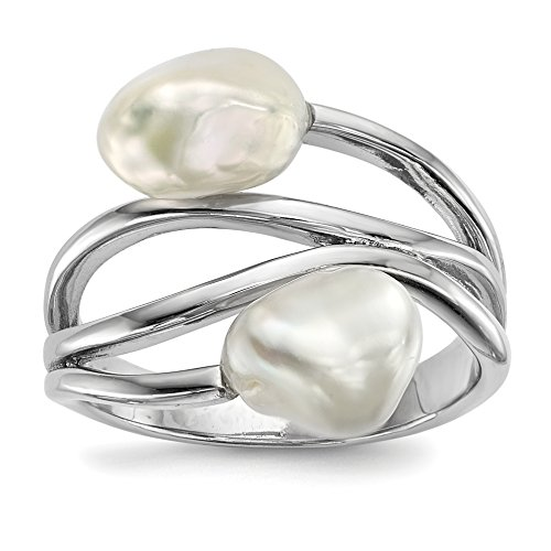 Baroque Ice (ICE CARATS 925 Sterling Silver Rh 8mm White Baroque Freshwater Cultured Pearl Band Ring Size 8.00 Fine Jewelry Gift Valentine Day Set For Women Heart)