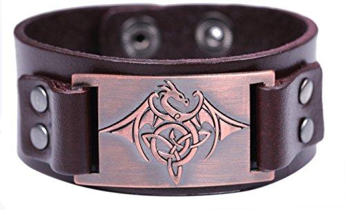 VASSAGO Vintage Amulet Norse Viking Celtic Knot Trinity Flying Dragon with Wing Bracelet for Men Women (Brown Leather, Antique -