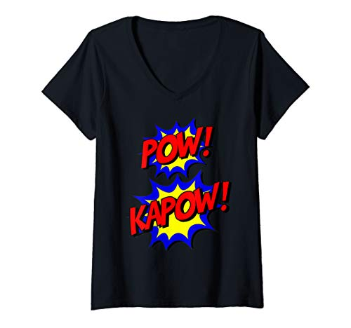 Womens Pow Kapow Funny Comic Superhero Halloween Costume for Kids V-Neck T-Shirt -