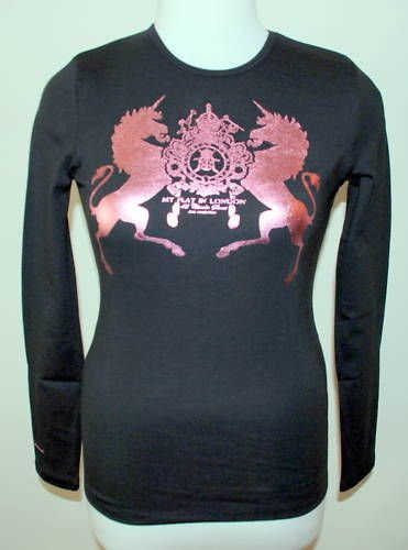 MY FLAT IN LONDON BLACK L/S T-SHIRT W/ PINK MONTE CARLO NEW - S