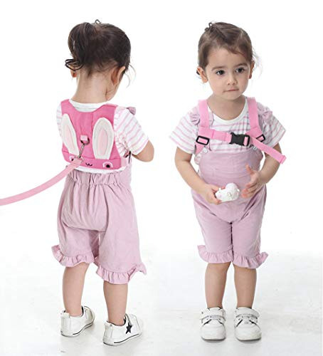 Idefair Kids Harness, Kid Leash Anti Lost Belt Harness Safety Walking Leash for Age 1-5 Years Old Boys & Girls to Disneyland, Mall or Zoo – Rabbit Pink