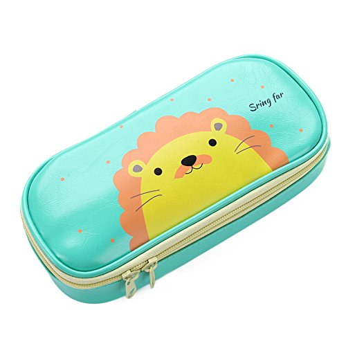 Cute Pencil Case - High Capacity Pencil Pouch Stationery Organizer Multifunction Cosmetic Makeup Bag, Green Lion Perfect Holder for Pencils and Pens,Green ¡­