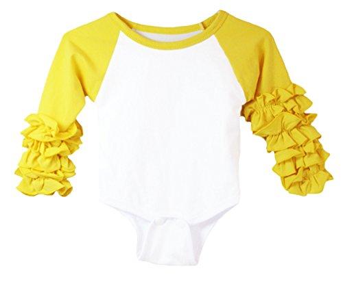 Dress Up Dreams Boutique Wholesale Princess Long Sleeve Ruffle Cuff Infant Bodysuit - Yellow 3-6 Months
