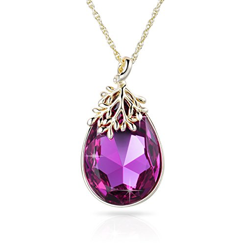 Alantyer Amethyst Jewelry Fuchsia Crystal Teardrop Pendant Necklace Gifts for Women and Girl Purple Crystals from Swarovski
