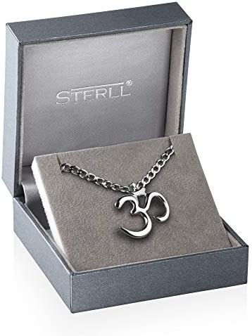 STERLL man Silver Necklace Sterling 925 Chinese Amulet om Yoga Pendant in Lucky Charm Jewelry Case Men's Gifts