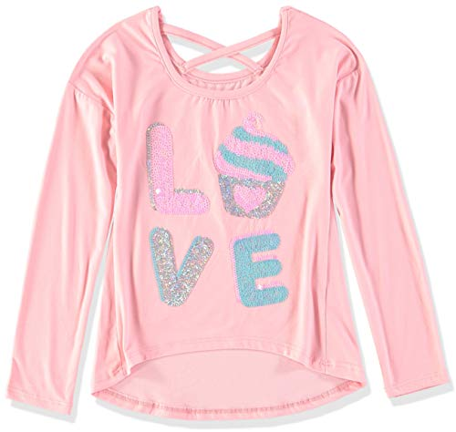 Colette Lilly Girls' Toddler' Long Sleeve Sequin Tee, Pink Love, 2T