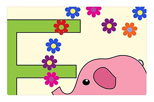 Tree26 Indoor Floor Rug/Mat (23.6 x 15.7 Inch) - Elephant Pink Letter E Alphabet Letter E E Font