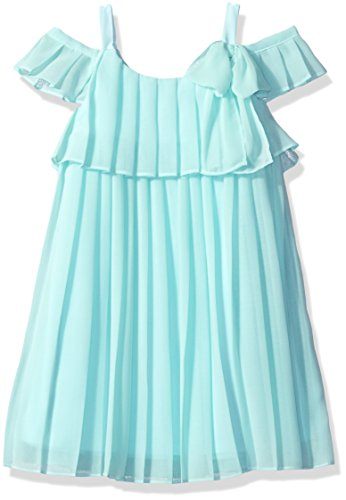 Bonnie Jean Big Girls' Cold Shoulder Dress, Aqua, 16
