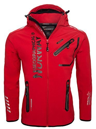 Geographical Norway Herren Outdoor Softshell Funktions Jacke, Rot, S