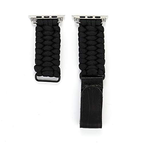 Jessie storee Hand Knitted Rope Leather Watch Bands for Apple Watch Series 4/3/2/1 42MM 44MM Lightweight Sweatproof Magic Sticker Bracelets Chic Replacement Strap Wristband (Black)