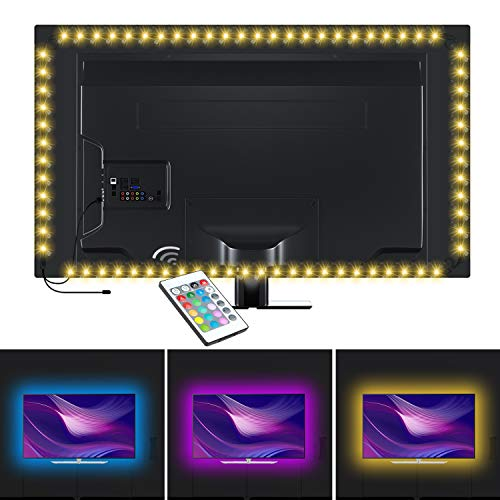 Large Product Image of HUANUO Led Strip Lights, 6.6ft RGB USB TV Backlight Kit with Remote-16 Color for 40-60in HDTV PC Monitor Home Theater Decoration