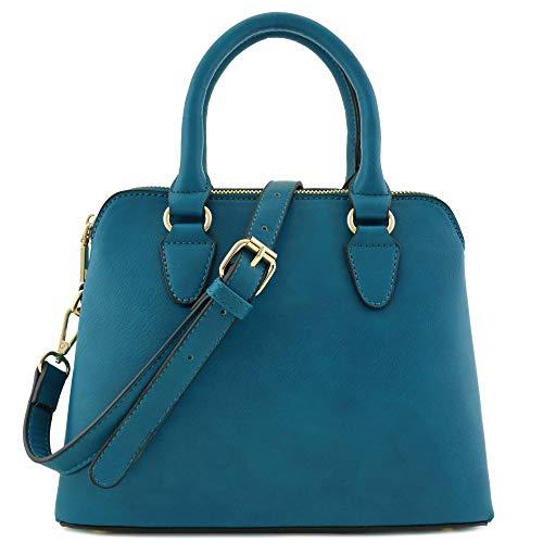 Classic Double Zip Top Handle Dome Satchel Bag (Teal)