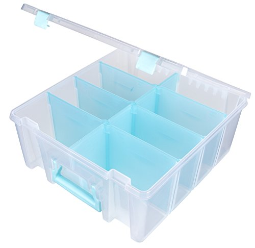 ArtBin Super Satchel Double Deep with Removable Dividers, Clear Art and Craft Storage Container Box, 6990RH, Aqua Handle -