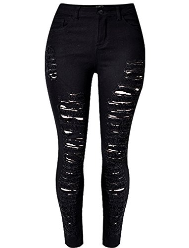 (OLRAIN Womens Long Jeans Destroyed Ripped Hole Trousers Denim Pants 14 Black)