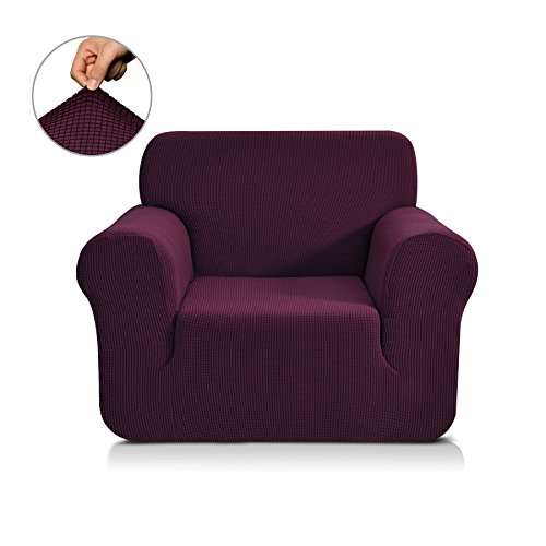 CHUNYI Jacquard Sofa Covers 1-Piece Polyester Spandex Fabric Slipcover (Chair, Dark Magenta) (Magenta Chair)