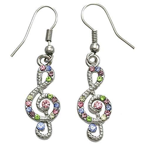 Colorful Treble Clef Music Note Earrings Dangle Drop Style Multicolor Rhinestones Fashion Jewelry