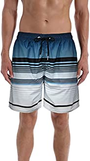 QRANSS Men's Stripe Swim Trunks Beach Swim Sh