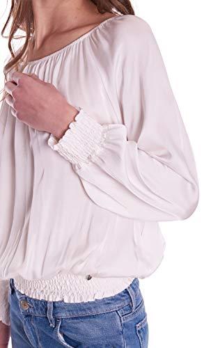 Bianco Blusa Elastico Manica Lunga Con Dixie wBxXdqB