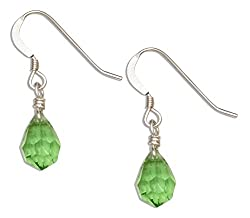 Bright Green May Birthstone Crystal Dangle Earrings