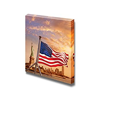 Canvas Prints Wall Art - Statue of Liberty in New York Manhattan with American Flag | Modern Wall Decor/Home Decoration Stretched Gallery Canvas Wrap Giclee Print & Ready to Hang - 24