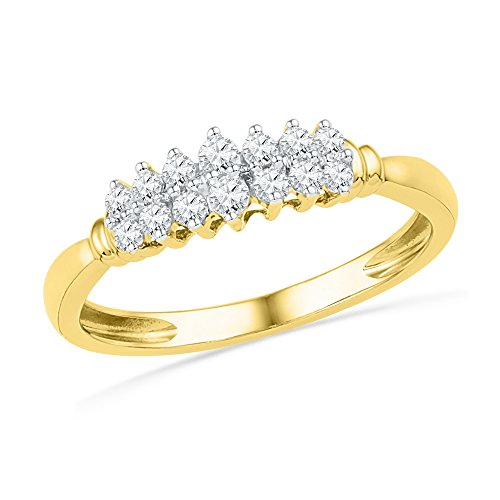 Sonia Jewels Size 7-10k Yellow Gold Round Prong-Set Diamond Double Row Band (1/4 - Double Row Set Diamond