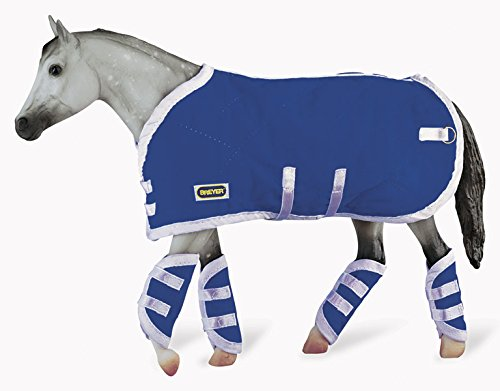 Breyer Traditional Blanket & Shipping Boots Horse Toy Accessory Set, Blue (1:9 Scale) ()