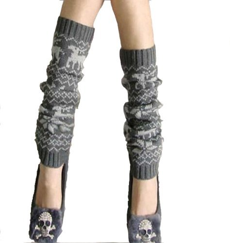 Crazycity New Arrival Top Fashion Trendy Cute Deer Pattern Soft Knitting Hign Knee Winter Leg Warmer Legging Socks Knit Crochet Leg Warmers Boots Cuffs Cover Knee-socks for Women Lady Girls ()