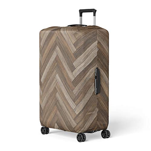 Pinbeam Luggage Cover Arrow Wood Parquet Herringbone Brown Ash Beechwood Chevron Travel Suitcase Cover Protector Baggage Case Fits 26-28 inches
