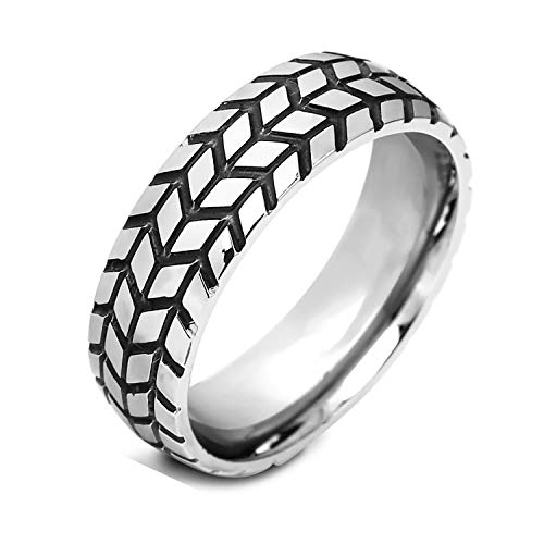 - Emma Manor Titanium Steel Ring 6mm Tire Tread Grooved Comfort Fit Design Wedding Ring for Men,Best Gift for His or Boyfriend,Size 7-11 (Titanium Steel, 7)