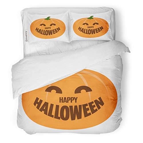 Tarolo Bedding Duvet Cover Set Orange Abstract Happy Halloween Pumpkin Autumn Candle Cartoon Carving 3 Piece Twin 68