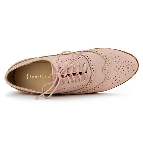 RF ROOM OF FASHION Women's Wing Tip Saddle Lace up Platform Oxford Flats - Trendy Flatform Shoes Pink (8.5) by RF ROOM OF FASHION (Image #3)