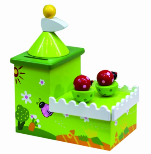 (Musicbox Kingdom 43834 Ladybug Piggy Bank Music Box, Turns to The Melody Over The Rainbow)