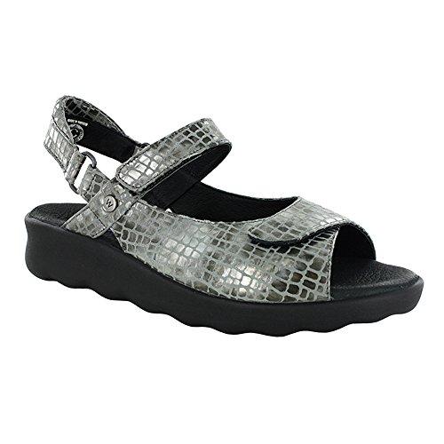 Wolky Women's Pichu Sandal Grey Croco Leather 40