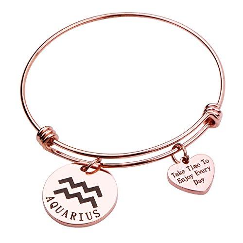 Gold Aquarius Zodiac Charm - REEBOOO Rose Gold Zodiac Sign Bracelet Constellation Jewelry Gift for Her (Aquarius)