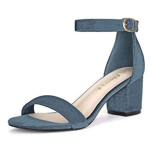 (Allegra K Women's Open Toe Mid Block Heel Ankle Strap Sandals (Size US 9) Blue )