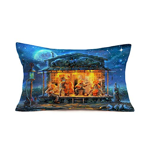 This Is Halloween Cover Guitar (Fukeen Cotton Linen Rectangular Waist Pillow Covers Halloween Revelry Night Pumpkins Playing Guitar Throw Pillow Cases 12x20 Inch Scary Theme Haunted House Decorative Cushion Cover for Couch Sofa)