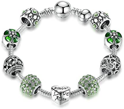 BAMOER Antique Silver Charm Bracelet /& Bangle with Love and Flower Beads Women W