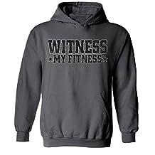 icustomworld Witness My Fitness Hoodie Gym Workout Hooded Sweatshirt L Charcoal