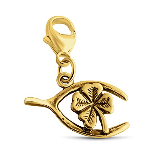 Azaggi Gold Plated Sterling Silver Wishbone with Four Leaf Clover Pendant With Lobster Clasp P0005G_pc