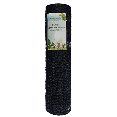 Fence Wire 20 Gauge 48-Inch-by-150-Foot 1-Inch Galvanized Stainless Steel Mesh and Black Vinyl Coated Hexagonal Poultry Netting / Hardware Cloth